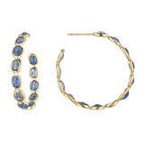 &quot;Ombre&quot; Blue Sapphire Hoop Earrings