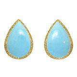 Pear-Shaped Turquoise &amp; Yellow Diamond Earrings