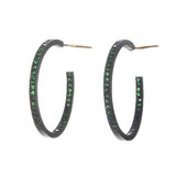 Medium &quot;Lilah&quot; Green Tsavorite Hoop Earrings