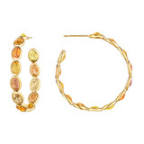 """Ombre"" Orange Sapphire Hoop Earrings"