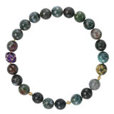 Moss Agate, Diamond & Amethyst Bead Necklace