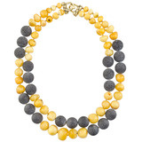 Amber & Lava Bead Necklace