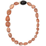 Sunstone Bead Necklace with Ebony & Mandarin Garnet Clasp