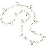 18k Pink Gold & Rock Crystal Bead Necklace