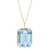 Emerald-Cut Blue Topaz Pendant
