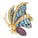 Multicolored Gemstone &amp; Abalone Shell Butterfly Brooch