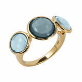 Blue Topaz Disk 3-Stone Ring