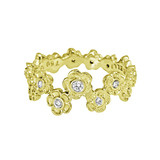 18k Yellow Gold & Diamond Hydrangea Flower Band Ring