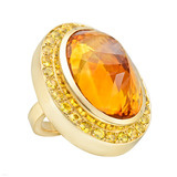 Large Madeira Citrine &amp; Yellow Sapphire Ring