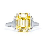 Emerald-Cut Yellow Sapphire & Diamond Ring