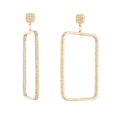 "Medium 18k Gold & Diamond ""Piece"" Drop Earrings"