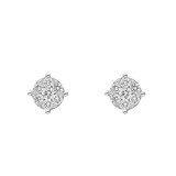 Small Round Brilliant Diamond Cluster Stud Earrings (~0.5 ct tw)