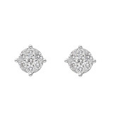 Medium Round Brilliant Diamond Cluster Stud Earrings (~0.9 ct tw)
