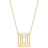 "Small 18k Yellow Gold & Diamond ""Piece"" Pendant Necklace"