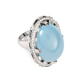 """Oval Window"" Turquoise & Diamond Ring"