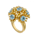"""Fandango"" 18k Gold & Blue Topaz Ring"