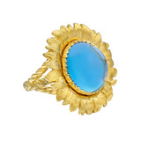 18k Gold & Blue Topaz Sunflower Ring