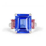 Emerald-Cut Tanzanite Ring with Pink Tourmaline