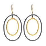 """Rachel"" 24k Gold & Gilver Oval Double Drop Earrings"