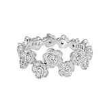 18k White Gold & Diamond Hydrangea Flower Band Ring