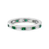 Round Emerald & Baguette Diamond Eternity Band