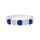 Five Stone Sapphire & Diamond Eternity Band