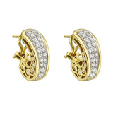 18k Gold & Diamond Half-Hoop Earrings