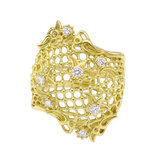 """Needle Lace"" 18k Gold & Diamond Band"