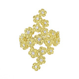 18k Gold & Diamond Hydrangea Flower Band Ring