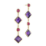 """Florentine"" Amethyst & Ruby Drop Earrings"
