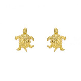 Small 18k Gold Sea Turtle Stud Earrings