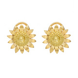 18k Gold Sunflower Earclips