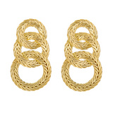 """Trio Cerchi"" 18k Gold Drop Earrings"