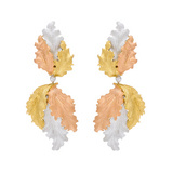 18k Tri-Colored Gold Leaf Drop Earrings
