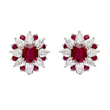 "Ruby & Diamond ""Sunburst"" Cluster Earrings"