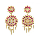 "Small ""Appliqué"" Ruby & Diamond Drop Earrings"