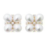 Pearl &amp; Diamond Quatrefoil Earclips