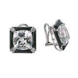 """Carre"" Rock Crystal & Onyx Earclips with Diamond"