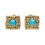 """Little Creatures"" Turquoise Earrings with Diamond"