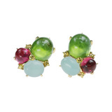Peridot, Aquamarine &amp; Tourmaline Triple Cabochon Earclips