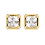 &quot;Carre&quot; Rock Crystal Earclips with Diamond