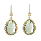 Pear-Shaped Prasiolite Drop Earrings with Diamond