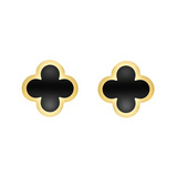 18k Gold &amp; Black Onyx &quot;Alhambra&quot; Earclips