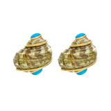 Green Mottled Shell Earclips with Turquoise Caps