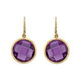 Round Amethyst Drop Earrings