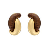 """Half Link"" Walnut & 18k Gold Earclips"