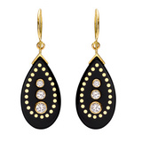 """Danica"" Black Bakelite Drop Earrings with Diamond"