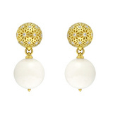 """Eyelet"" White Coral & 18k Gold Drop Earrings"