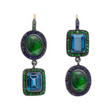 """Topkapi"" Blue Topaz & Green Opal Drop Earrings"