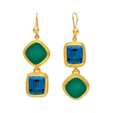 Blue Topaz & Green Agate Drop Earrings